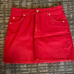 RED TOPSHOP DENIM SKIRT